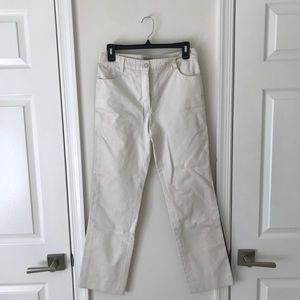 Chanel White Jeans with black racer stripe